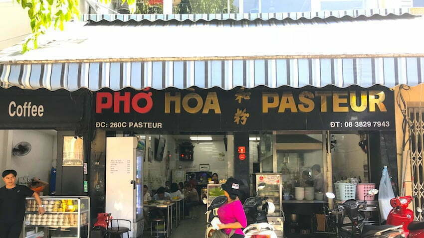 In front of Pho Hoa in Pasteur